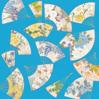 HANA宴 シルクスカーフ 扇面 / ブルー