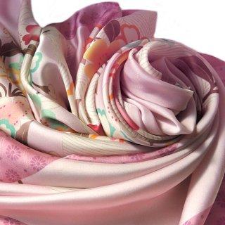 はれぎスカーフ 桜に流水 / ピンク