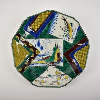 色絵色紙散図 9角盛皿