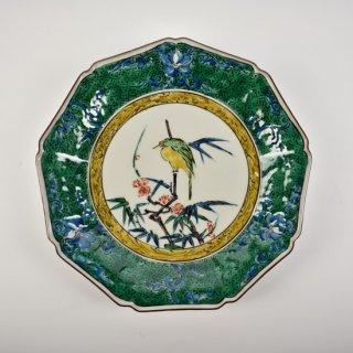 色絵笹に翡翠図 9角盛皿