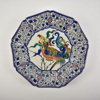 色絵鳳凰図 9角盛皿