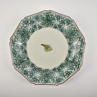 色絵小禽図 9角盛皿