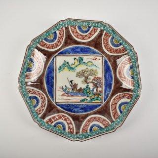 色絵舟遊図 9角盛皿