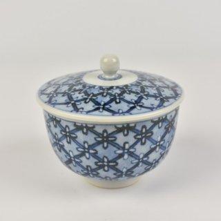 染付格子文蓋付リン茶碗