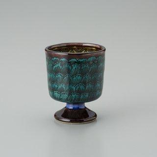 陶胎青手馬上杯(見込:牡丹−1)