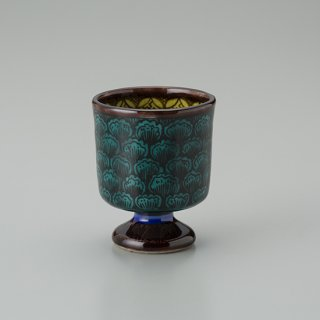 陶胎青手馬上杯(見込:牡丹−2)