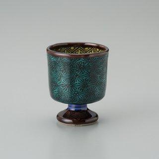陶胎青手馬上杯(見込:露草)