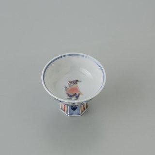 色絵異邦人 高台盃(ワイングラス)