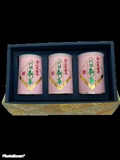 【新茶予約受付中】令和3年度産                      川根薮北新茶 八十八夜摘み缶 100g×3本ギフト