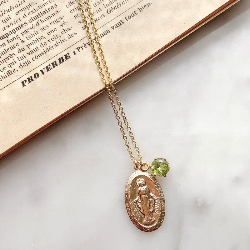 Virgin Mary ペリドットネックレス