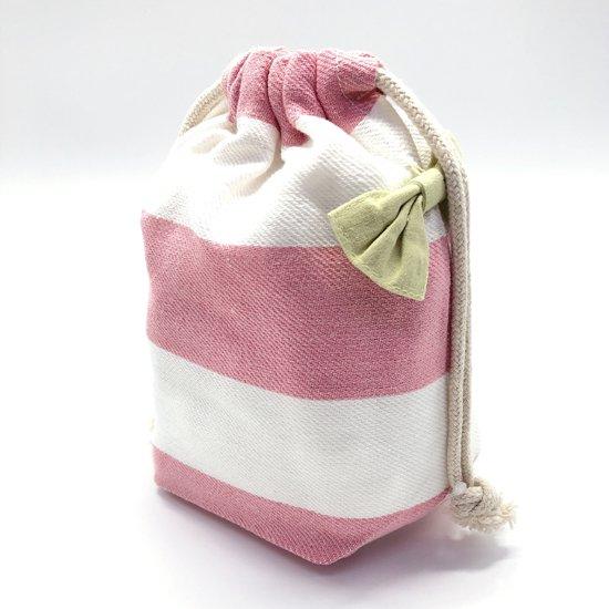 ボーダーコップ巾着ピンク