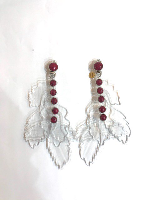 clear leaf earring BOR