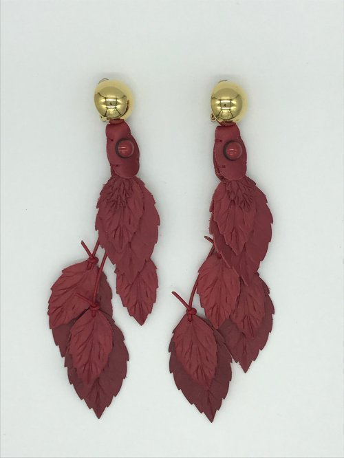 leather leaf earring RED