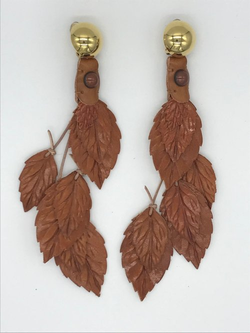 leather leaf earring CAMEL