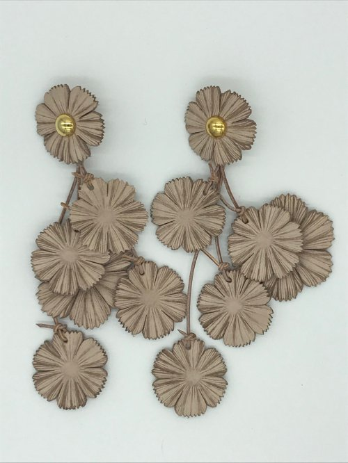 leather flower earring NU