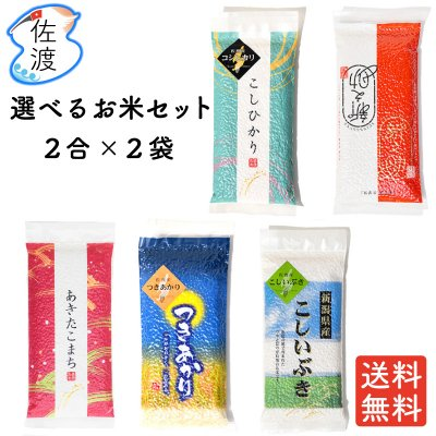 令和2年産 選べる佐渡のお米セット(2合×2品種)【送料無料】【メール便】
