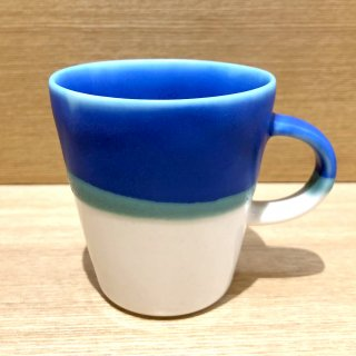 Mug cup S(2色掛け分け)【Transparent/blue】前野達郎