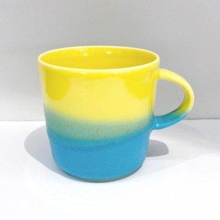Mug cup M(2色掛け分け)【Yellow/Turquoise】前野達郎