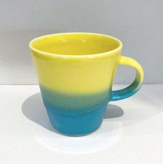 Mug cup S(2色掛け分け)【Yellow/Turquoise】前野達郎