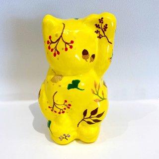 張子 招き猫(大)【秋柄 黄色】