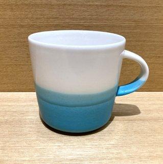 Mug cup M(2色掛け分け)【White/blue】前野達郎