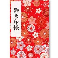 御朱印帳(Lサイズ) 赤地の菊花