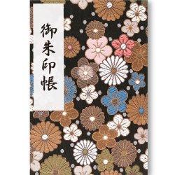 御朱印帳(Lサイズ) 黒地の菊花