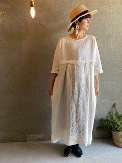 yayami  Linen onepiece (White)