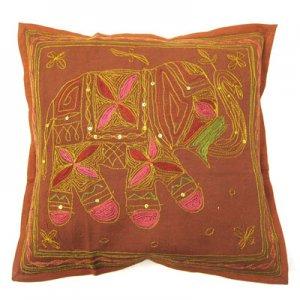 【在庫処分】ぞう柄刺繍クッションカバーBR/インド雑貨