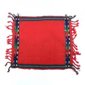 レインボーカラー織布コースターRE赤/グアテマラ雑貨