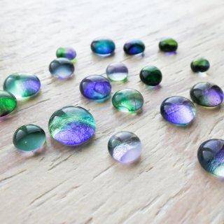 ガラスカボション パープルグリーン 4個