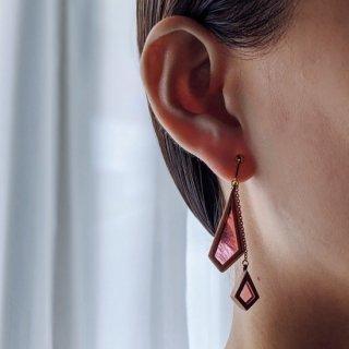 【花びら】木のぬくもりを耳元に  組子細工のイヤリング/土本 恭義(土本工芸)