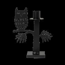 OWL CANDLE HOLDER BLACK