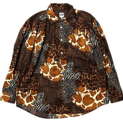 AiE (エーアイイー) / Painter Shirt (Animal Patchwork) - BROWN MULTI