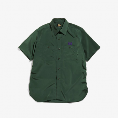 Needles (ニードルス) / S/S WORK SHIRT (POLY CLOTH) - GREEN