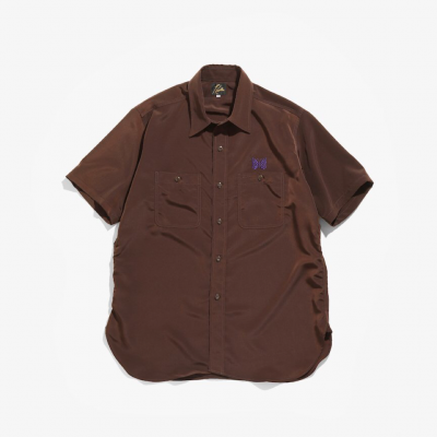 Needles(ニードルス)/ SHORT SLEEVE WORK SHIRT (POLY CLOTH) - BROWN
