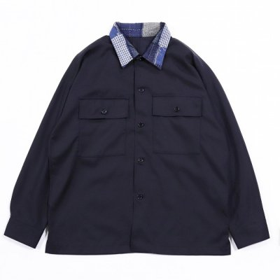 KUON (クオン) / kimono sleeve shirt jacket - NAVY