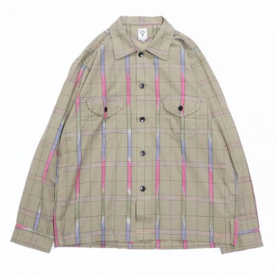 South2West8 (サウスツーウエストエイト) / Smokey Shirt (IKAT WINDOWPANE) - BEIGE