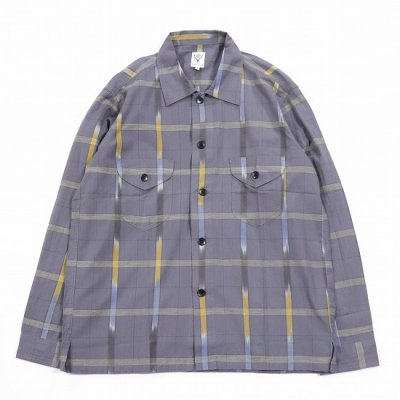 South2West8 (サウスツーウエストエイト) / Smokey Shirt (IKAT WINDOWPANE) - GREY
