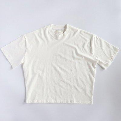 STUDIO NICHOLSON (スタジオニコルソン) / LW COMPACT COTTON BRANDED S/S MOCK NECK Tee - OPTIC WHITE