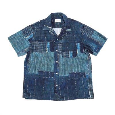 KUON (クオン) / BORO Hawaiian S/S Shirt - NAVY