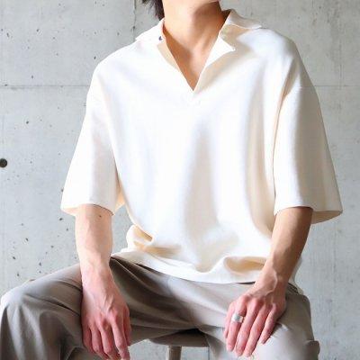 saby (サバイ) / MILAN RIB OPEN COLLAR (16G Compact Yarn) - ECRU
