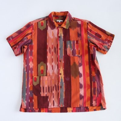 Engineered Garments(エンジニアードガーメンツ)/ CAMP SHIRT (COTTON IKAT) - RED/ORANGE