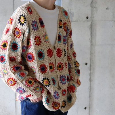 it's inconspicuous presence (Niche. ニッチ) / CROCHET CARDIGAN COLORFUL- NATURAL