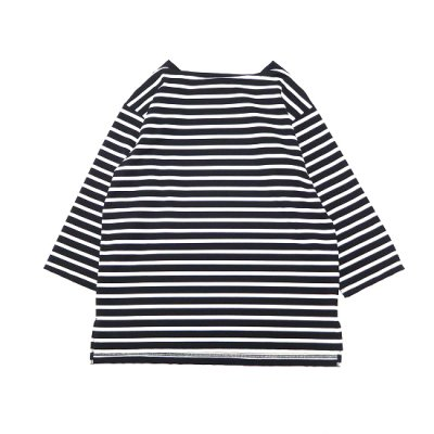 A VONTADE (ア ボンタージ) / BOAT NECK 3/4 SLEEVE Tee (BORDER) - BLACK×WHITE