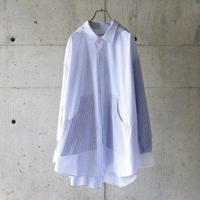 NISH (ニッシュ) / HOODED SHIRT - BLUE STRIPE