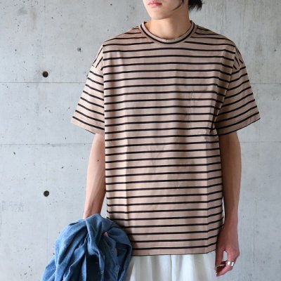A VONTADE (ア ボンタージ) / BORDER SS Tee - BEIGE×BLACK