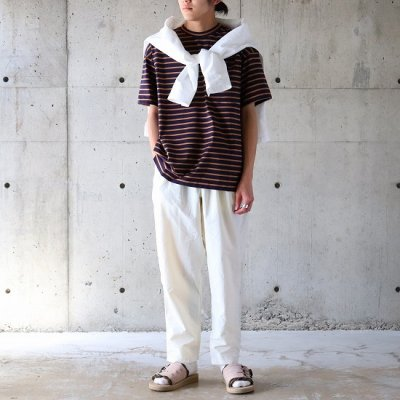 A VONTADE (ア ボンタージ) / BORDER SS Tee - NAVY×TAUPE