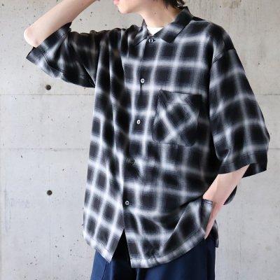 Sanca (サンカ) / OMBRE CHECK OPEN SHIRTS - BLACK