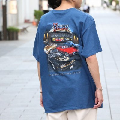 JOE BLOW / CAR PRINT S/S TEE (FIREBIRDS) - BLUE DUSK